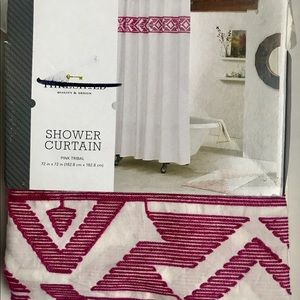 Pink Tribal Fabric Shower Curtain
